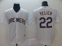 Mens Mlb Milwaukee Brewers #22 Christian Yelich White Stripe Cool Base Player Jersey