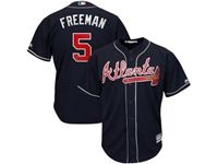 Mens 2019 Atlanta Braves #5 Freddie Freeman Navy Blue Cool Base Player Jersey