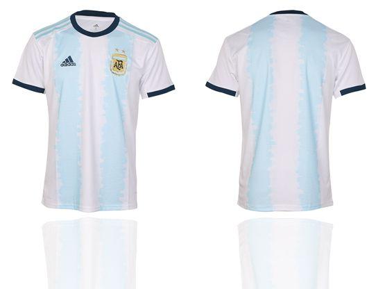Mens 19-20 Soccer Argentina National Team (custom Made) White And Sky Blue Stripe Home Short Sleeve Thailand Jersey