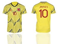 Mens 2019-20 Soccer Colombia National Team #10 James Rodriguez Yellow Home Short Sleeve Thailand Jersey