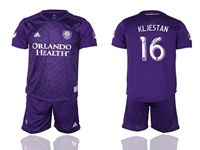 Mens 19-20 Soccer Orlando City Sc Club #16 Kljestan Purple Home Short Sleeve Suit Jersey