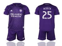 Mens 19-20 Soccer Orlando City Sc Club #25 Acosta Purple Home Short Sleeve Suit Jersey