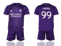 Mens 19-20 Soccer Orlando City Sc Club #99 Grinwis Purple Home Short Sleeve Suit Jersey
