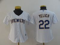 Women Mlb Milwaukee Brewers #22 Christian Yelich White Stripe Cool Base Player Jersey