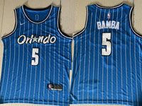 Mens Nba Orlando Magic #5 Mohamed Bamba Blue Stripe Round Neck Swingman Jersey