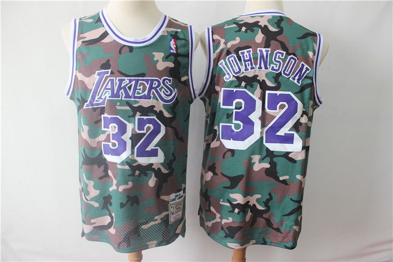 Mens Nba Los Angeles Lakers #32 Magic Johnson Camo Hardwood Classics Mitchell&ness Jersey