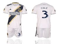 Mens 19-20 Soccer Galaxy Club #3 Ashley Cole White Home Short Sleeve Suit Jersey