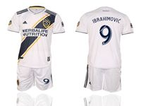 Mens 19-20 Soccer Galaxy Club #9 Zlatan Ibrahimovic White Home Short Sleeve Suit Jersey