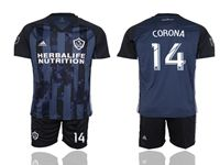 Mens 19-20 Soccer Galaxy Club #14 Corona Blue Away Short Sleeve Suit Jersey