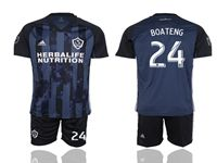 Mens 19-20 Soccer Galaxy Club #24 Boateng Blue Away Short Sleeve Suit Jersey