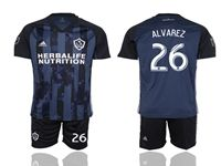 Mens 19-20 Soccer Galaxy Club #26 Alvarez Blue Away Short Sleeve Suit Jersey
