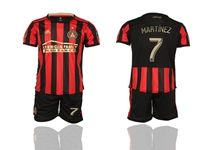 Mens 19-20 Soccer Atlanta United Club #7 Martinez Red And Black Stripe Home Short Sleeve Suit Jersey