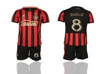 Mens 19-20 Soccer Atlanta United Club #8 Barco Red And Black Stripe Home Short Sleeve Suit Jersey