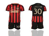 Mens 19-20 Soccer Atlanta United Club #30 Carleton Red And Black Stripe Home Short Sleeve Suit Jersey
