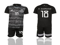 Mens 19-20 Soccer Mexico National Team #18 A.guardado Black Away Short Sleeve Suit Jersey