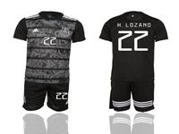 Mens 19-20 Soccer Mexico National Team #22 H. Lozano Black Away Short Sleeve Suit Jersey