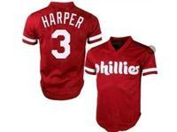 Mens Mlb Philadephia Phillies #3 Bryce Harper Red Throwbacks Cool Base Mesh Jersey