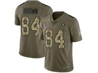 Mens Nfl Oakland Raiders #84 Antonio Brown Olive Camo Carson Salute To Service Limited Jersey