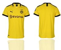 Mens 19-20 Soccer Borussia Dortmund Club ( Custom Made ) Yellow Home Short Sleeve Thailand Jersey