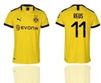 Mens 19-20 Soccer Borussia Dortmund Club #11 Marco Reus Yellow Home Short Sleeve Thailand Jersey