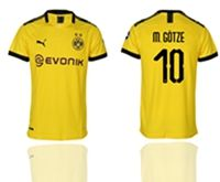 Mens 19-20 Soccer Borussia Dortmund Club #10 Mario Gotze Yellow Home Short Sleeve Thailand Jersey