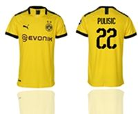 Mens 19-20 Soccer Borussia Dortmund Club #22 Christian Pulisic Yellow Home Short Sleeve Thailand Jersey