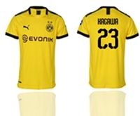 Mens 19-20 Soccer Borussia Dortmund Club #23 Shinji Kagawa Yellow Home Short Sleeve Thailand Jersey