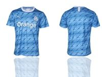 Mens 19-20 Soccer Olympique De Marseille Club ( Custom Made ) Blue Second Away Short Sleeve Thailand Jersey