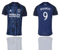 Mens 19-20 Soccer Galaxy Club #9 Zlatan Ibrahimovic Blue Away Short Sleeve Thailand Jersey