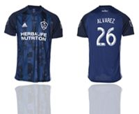 Mens 19-20 Soccer Galaxy Club #26 Alvarez Blue Away Short Sleeve Thailand Jersey