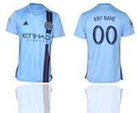 Mens 19-20 Soccer New York Fc Club ( Custom Made ) Blue Home Short Sleeve Thailand Jersey