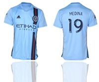 Mens 19-20 Soccer New York Fc Club #19 Jesus Medina Blue Home Short Sleeve Thailand Jersey