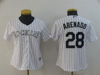 Women Mlb Colorado Rockies #28 Nolan Arenado White Black Stripe Cool Base Jersey