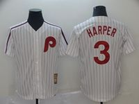 Mens Mlb Philadephia Phillies #3 Bryce Harper White Red Stripe Cool Base Cooperstown Jersey
