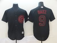 Mens Mlb Chicago Cubs #9 Javier Baez Black Shadow Cool Base Jersey