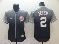 Mens New York Yankees #2 Derek Jeter Blue Nike Drift Cool Base Jersey