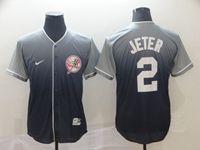 Mens New York Yankees #2 Derek Jeter Blue Cool Base Nike Fade Jersey