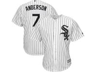 Mens Majestic Chicago White Sox #7 Tim Anderson White Black Stripe Cool Base Jersey