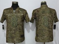 Women Nfl Baltimore Ravens #8 Lamar Jackson Nike Camo Salute To Service Limited Jersey