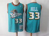Mens Nba Detroit Pistons #33 Grant Hill Green Hardwood Classics Jersey