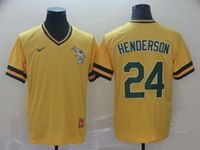 Mens Mlb Oakland Athletics #24 Rickey Henderson Yellow Cooperstown Collection Legend V Neck Cool Base Nike Jersey