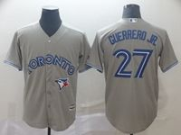 Mens Mlb Toronto Blue Jays #27 Guerrero Jr. Gray Cool Base Jersey
