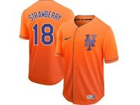 Mens Majestic New York Mets #18 Darryl Strawberry Orange Cool Base Nike Fade Jersey