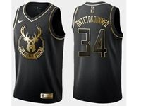Mens Nba Milwaukee Bucks #34 Giannis Antetokounmpo Black Golden Edition Swingman Jersey
