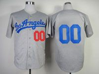 Mens Mlb Los Angeles Dodgers Custom Made Gray Los Angeles Throwbacks Cool Base Jersey