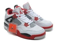 Mens And Women Air Jordan 4 Retro Aj4 Basketball Shoes Colour White And Red