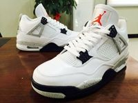 Mens Air Jordan 4 Retro 4 Aj4 Basketball Shoes Color White Cement With Nike Logo
