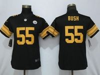Women Nfl Pittsburgh Steelers #55 Devin Bush Black Vapor Untouchable Color Rush Elite Jersey