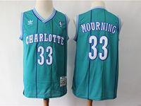 Mens Charlotte Hornets #33 Alonzo Mourning Green Mitchell≠ss 1992-93 Hardwood Classics Swingman Jersey