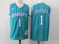 Mens Nba Charlotte Hornets #1 Muggsy Bogues Green Mitchell≠ss 1992-93 Hardwood Classics Swingman Jersey